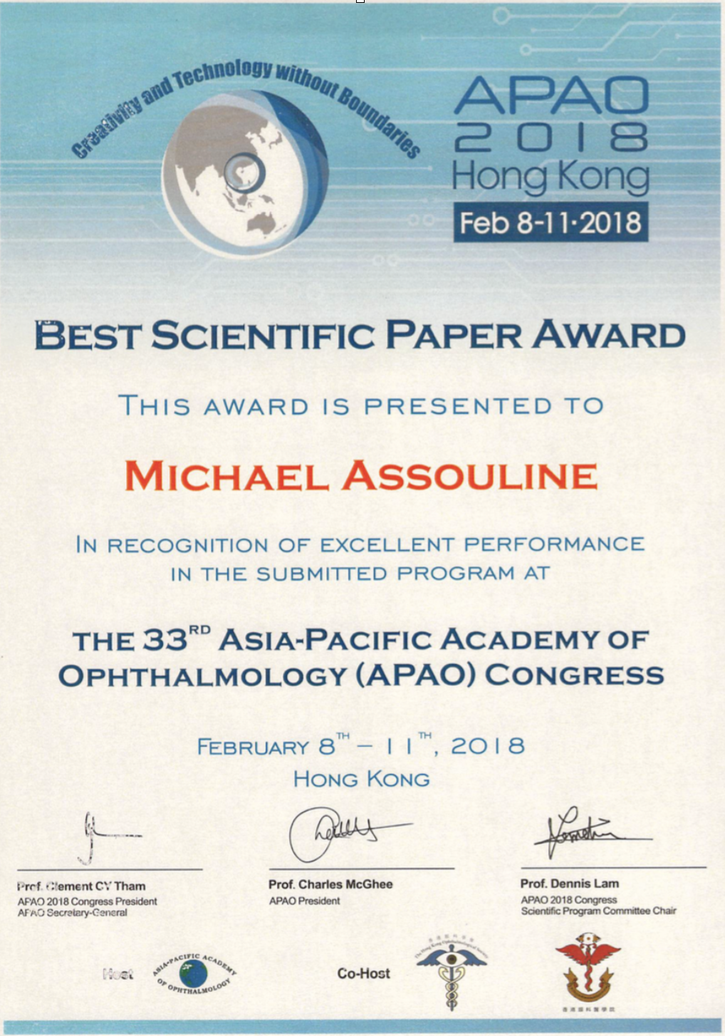 APAO 2018 Asia Pacific Academy of Ophtalmology